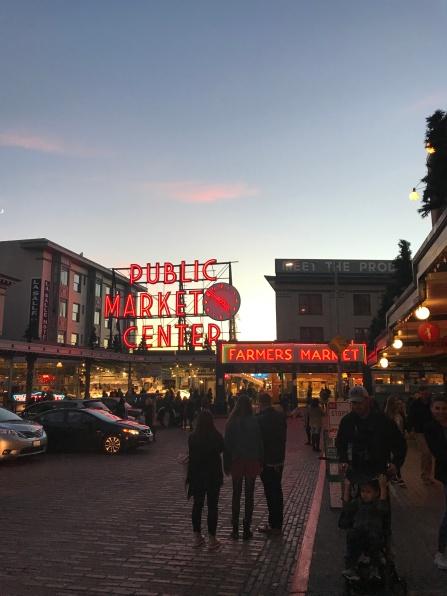 Pike Market Place, Seattle Washington at sunset